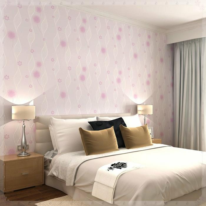 elegantes-Schlafzimmer-Interieur-retro-tapeten-rosa-Nuancen