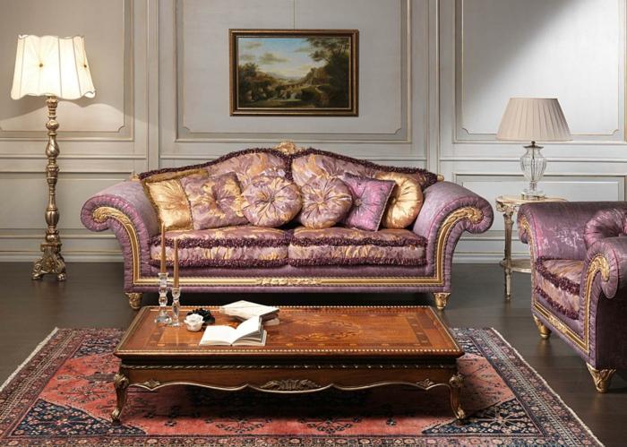 elegantes-Wohnzimmer-Interieur-Barock-Möbel-vintage-Dekoration