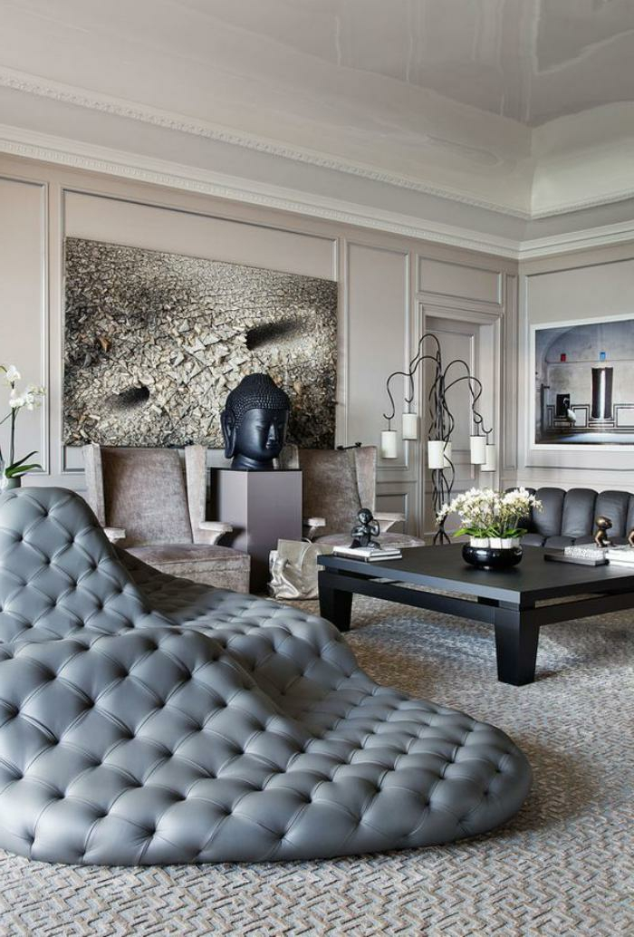 extravagantes-Modell-halbrundes-Sofa-grau-Knöpfe-bequem