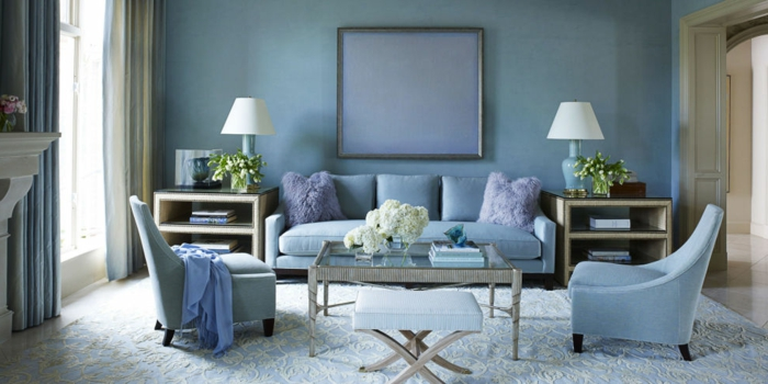farbige-wandgestaltung-wandfarbe-taubenblau-wohnzimmer