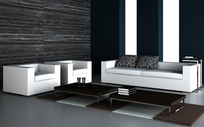 farbkombinationen-wand-schwarz-weiß-wohnzimmer-weiße-möbel