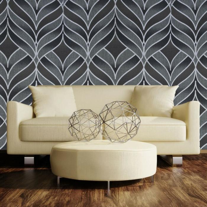 gemütliches-Interieur-Dekoration-Sphären-aus-Metall-Sofa-Hocker-retro-tapete-graue-Nuancen