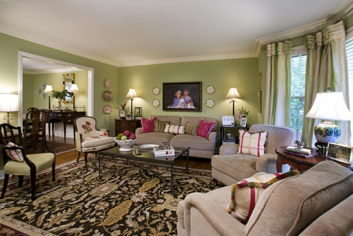 gemütliches-Wohnzimmer-vintage-Möbel-Landhaus-Deko