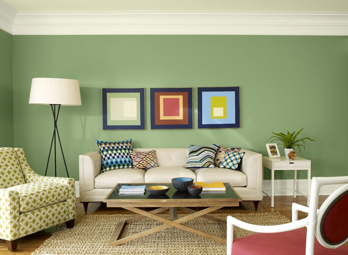 geometrische-Bilder-fürs-wohnzimmer-originelle-Idee-buntes-Wohnzimmer-Interieur