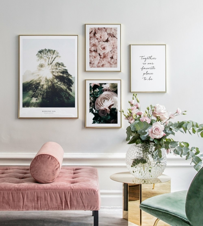 Aufgehängte Bilder mit Naturmotiven und inspirierendes Zitat, pinke Liege, Wandbilder Wohnzimmer