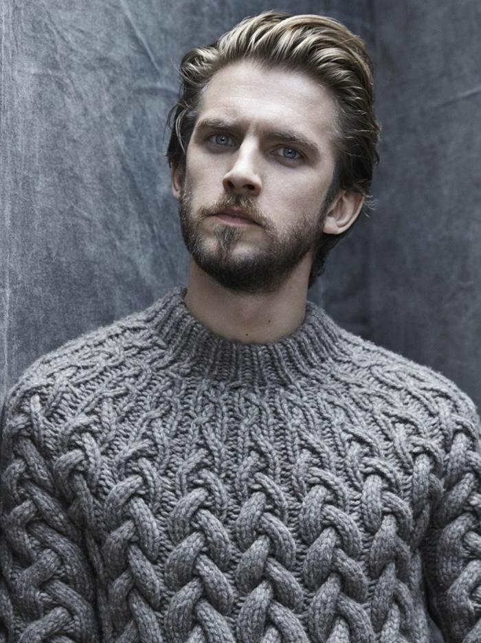 grauer-warmer-Pullover-Herren-schönes-Modell