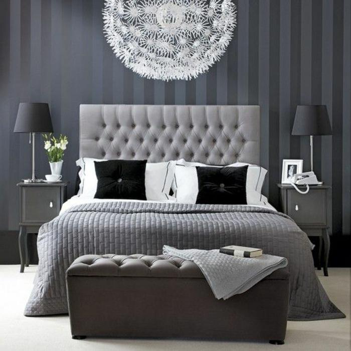 Graues Schlafzimmer Interieur Feines Tapeten Design King Size