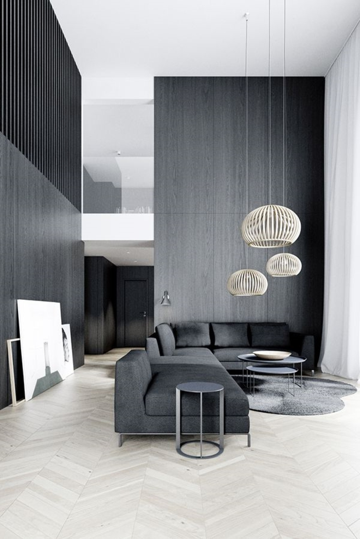 große-moderne-Wohnung-schwarz-graues-Interieur-Designer-Leuchten