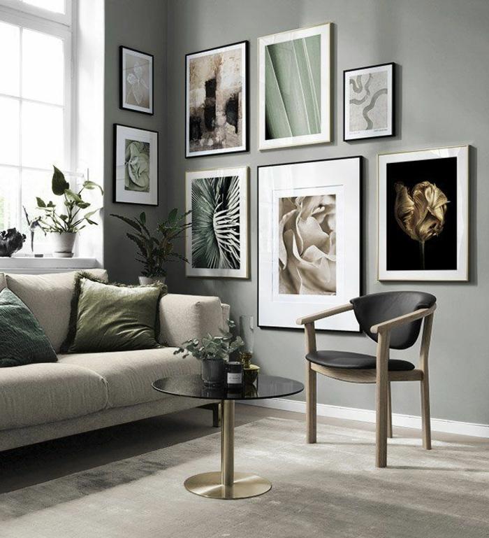 Komposition von verschiedenen Bildern an Wand in grüne Töne, große Wandbilder mit Blumen und Naturmotiven,