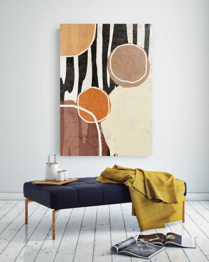 Außergewöhnliche Bilder, Gemalte Bilder, Geometrische Figuren in beige und schwarz-weiße Farben. gelbe Decke