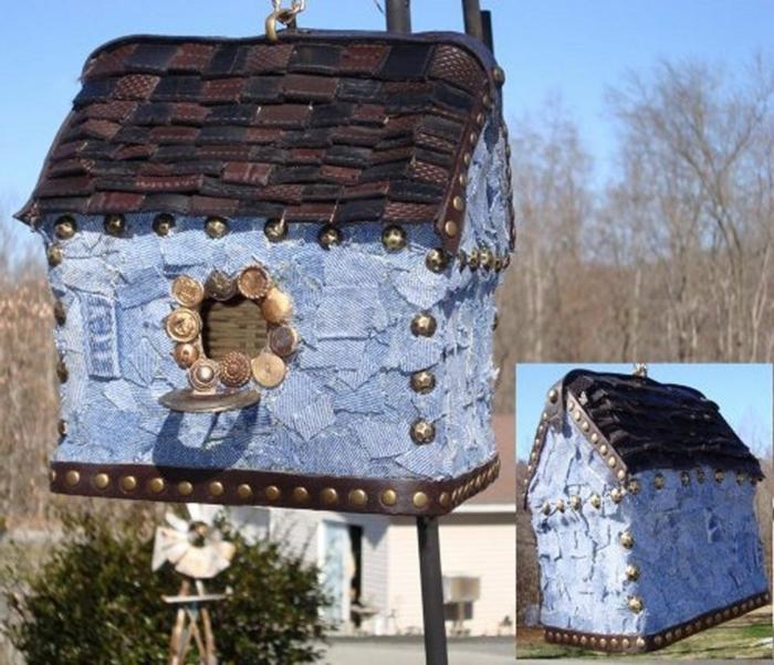 hängendes-vogelhäuschen-Denim-Leder-Dekoration-Garten