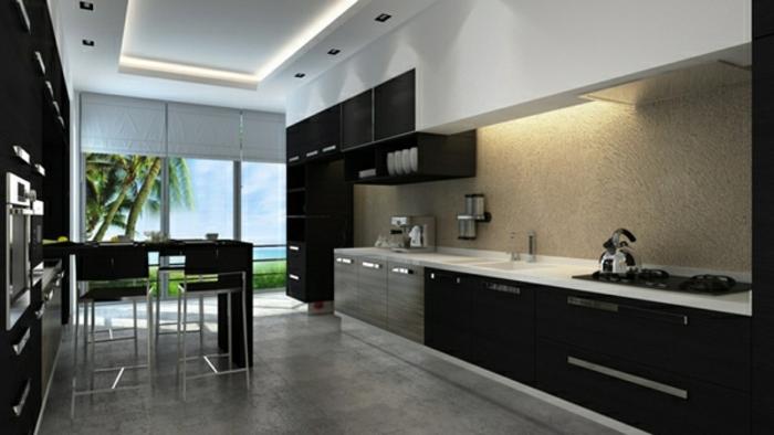 indirektes-licht-zimmerdecke-led-moderne-küche-gestalten