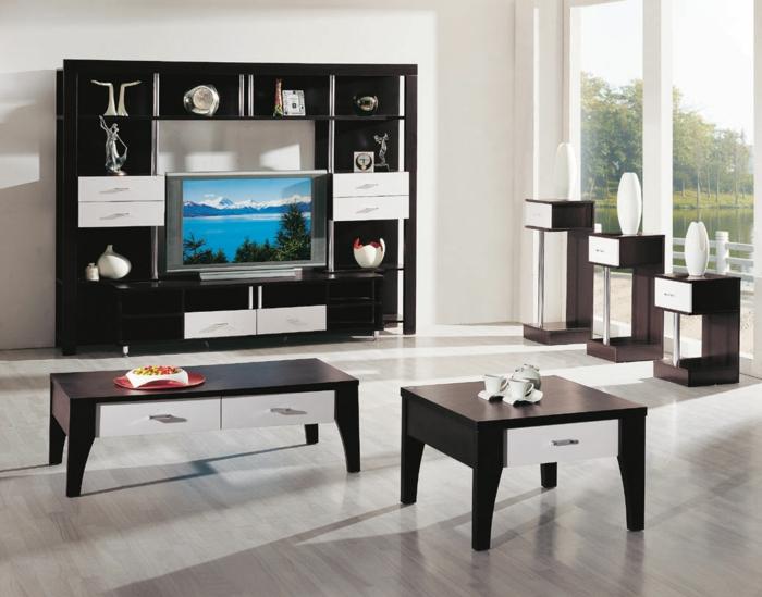 günstige deko ideen wohnzimmer - nesttische in schwarz