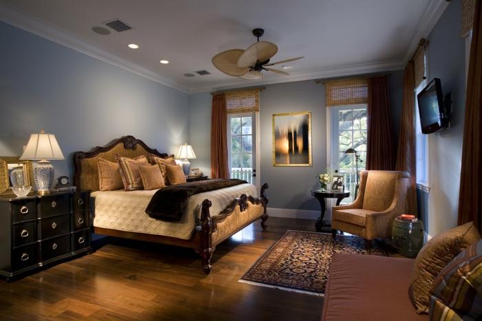 interessante-zimmerfarbe-modernes-schlafzimmer-wandfarbe-latte-macchiato