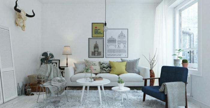interessantes-Wohnzimmer-Interieur-rustikale-Elemente-weißer-Teppich