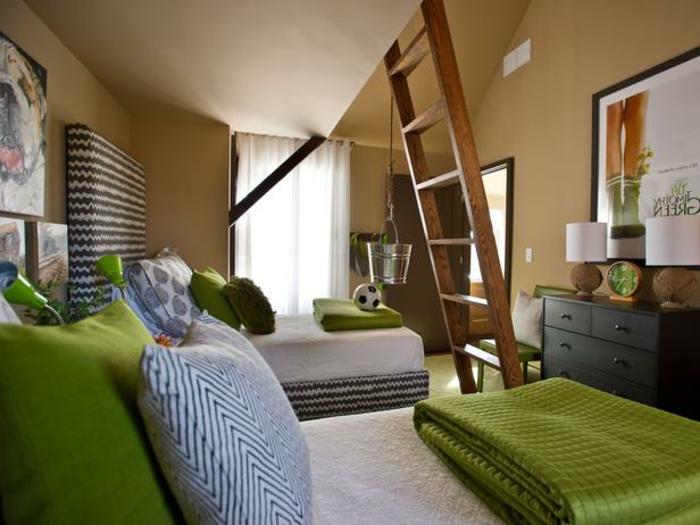 jugendzimmer-farben-betten-in-grün-wandfarbe-latte-macchiato