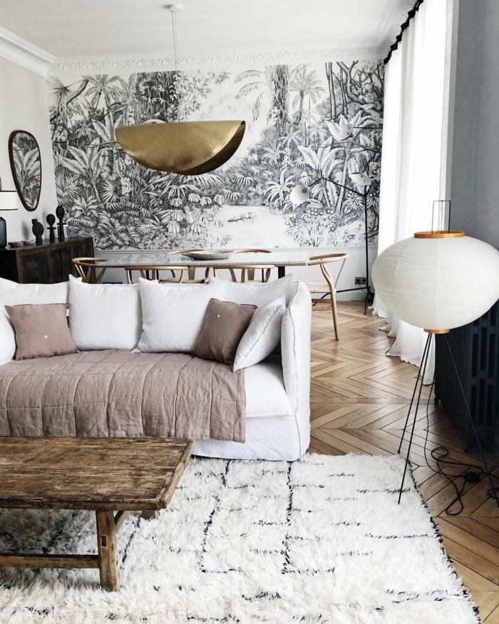 Wandbilder XXL, Gemälde von einer Dschungel in schwarz weiß, große Wandbilder, Couch in weiß, flauschiger Teppich