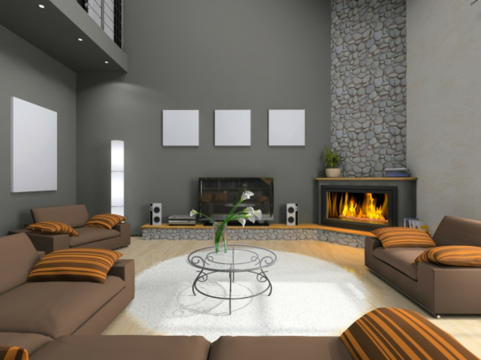 Best Wohnzimmer Design Modern Mit Kamin Photos - House Design