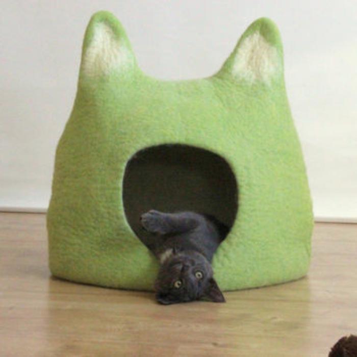 katzen zubehör-grün-bett-kleine-katze