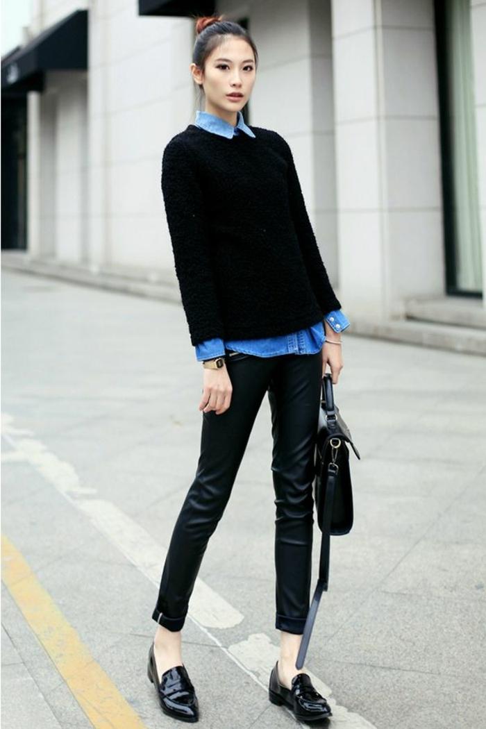 klassischer-Outfit-Lederhosen-Denim-Hemd-schwarzer-Pullover-Oxford-Schuhe