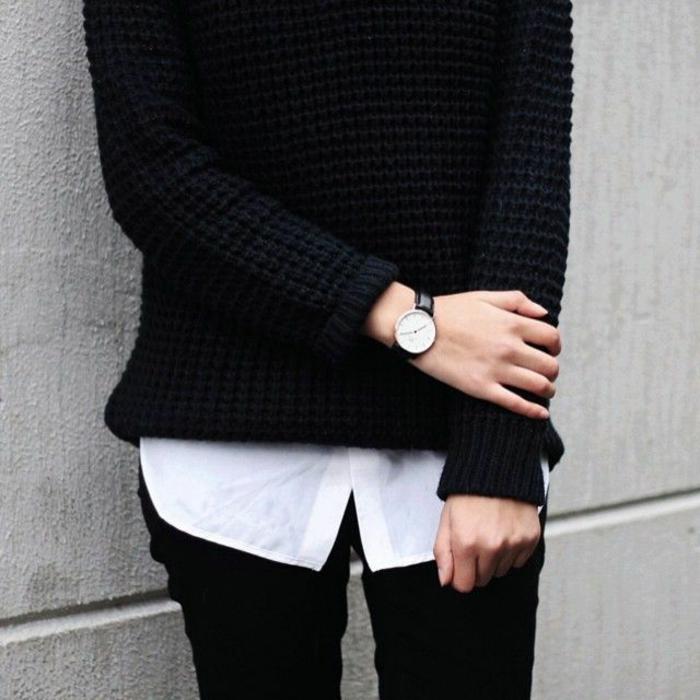 klassischer-Outfit-schwarzer-Pullover-weißes-Hemd-schwarze-Hosen-Handuhr