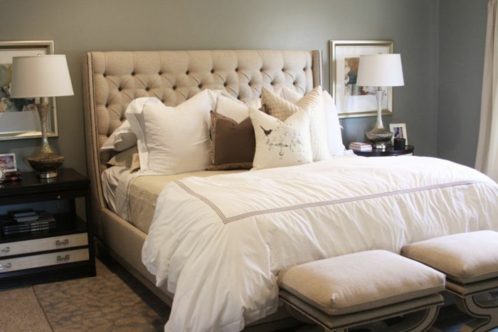 Kleines Schlafzimmer Doppelbett Mit Gepolstertem Kopfbrett Beige  Erstaunliche Fotos Von King Size Bett ...