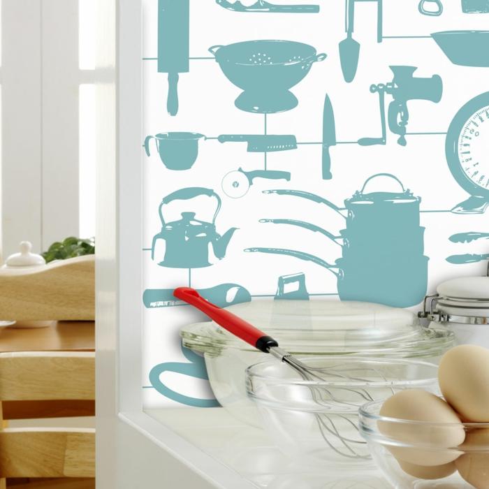 kreative-thematische-Küchen-Tapeten-originelle-Idee