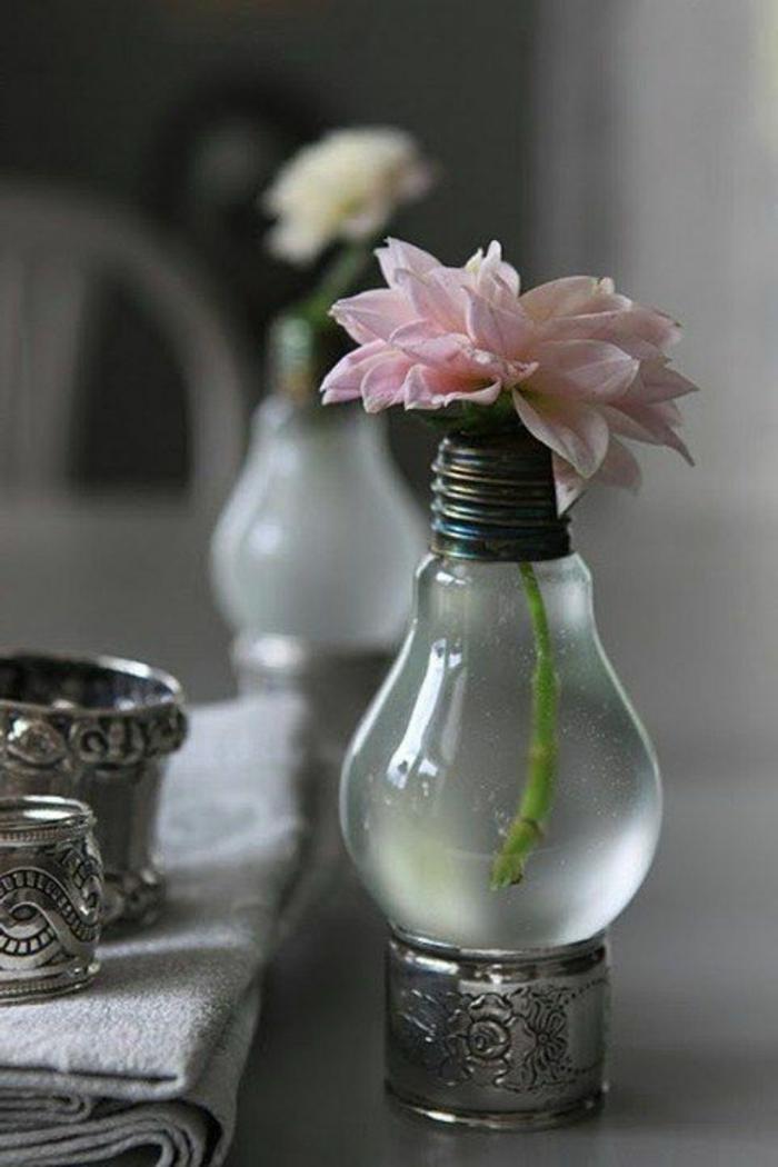 kreative-vintage-Deko-Glühbirne-Vase-Blume