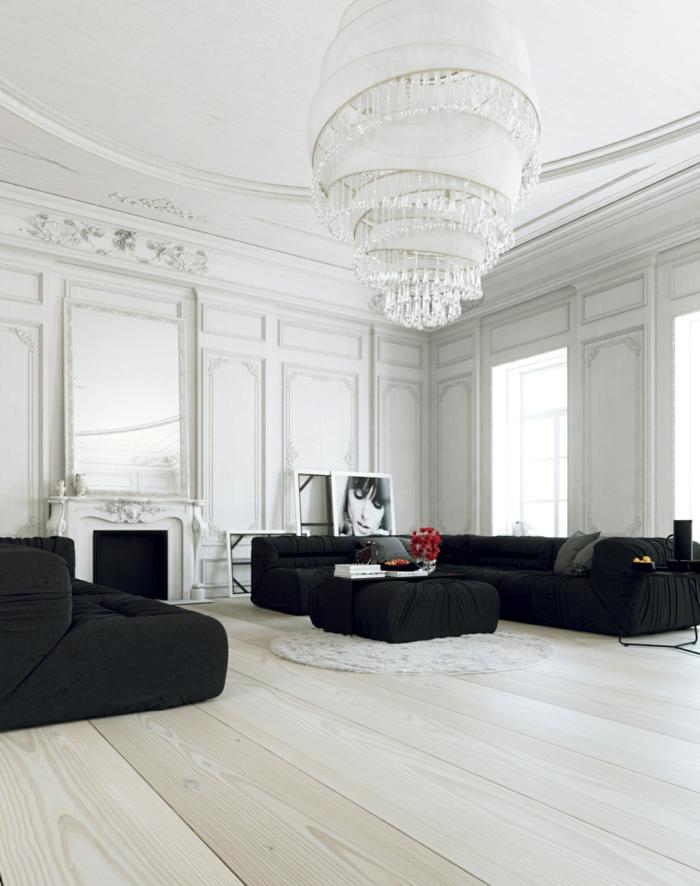 kronleuchter-in-weiß-schwarze-möbelstücke