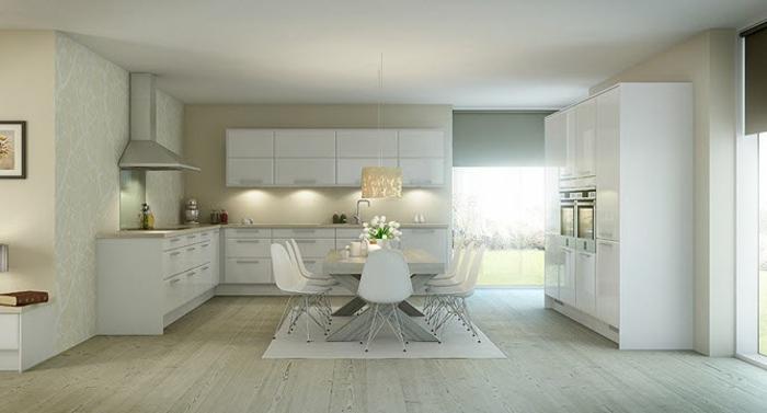 laminat-in-weiß-moderne-gestaltung-küche-und-esszimmer