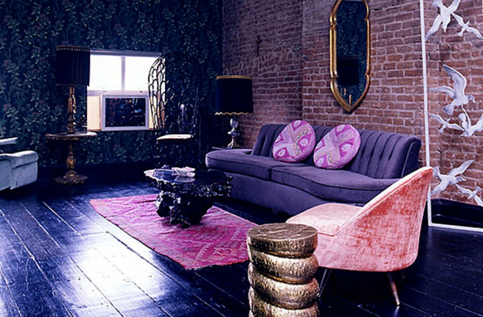 Lavendel Farbe Wohnzimmer Gestalten Moderne Wand Streichen Ideen
