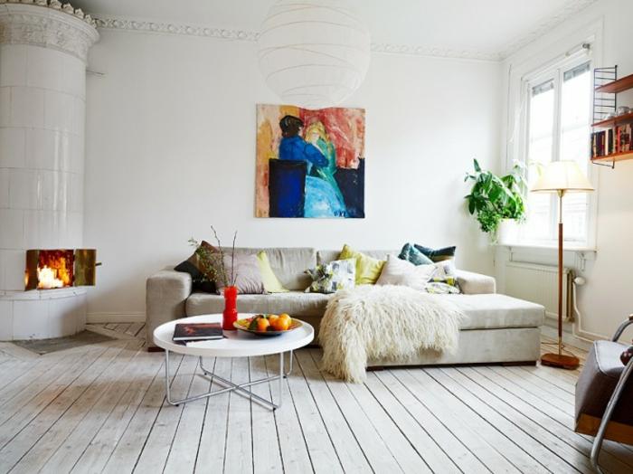 leinwandbilder-kunst-Wandgestaltung-weißes-skandinavisches-Interieur-Kamin