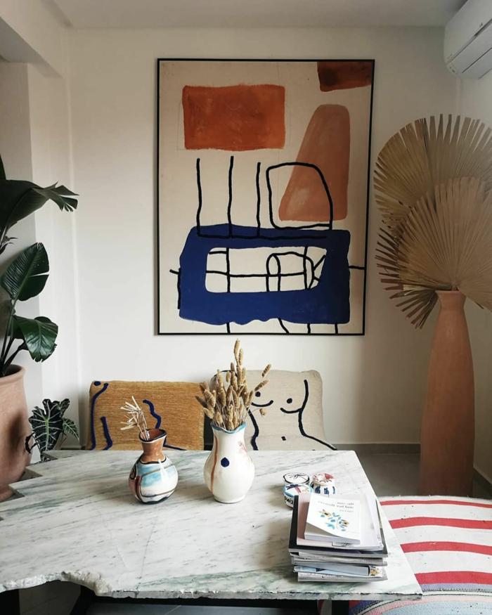 Wandbilder XXL, Abstrakte Kunst mit geometrischen Figuren in Farbe, Wandbilder Wohnzimmer, Kissen mit Zeichnungen