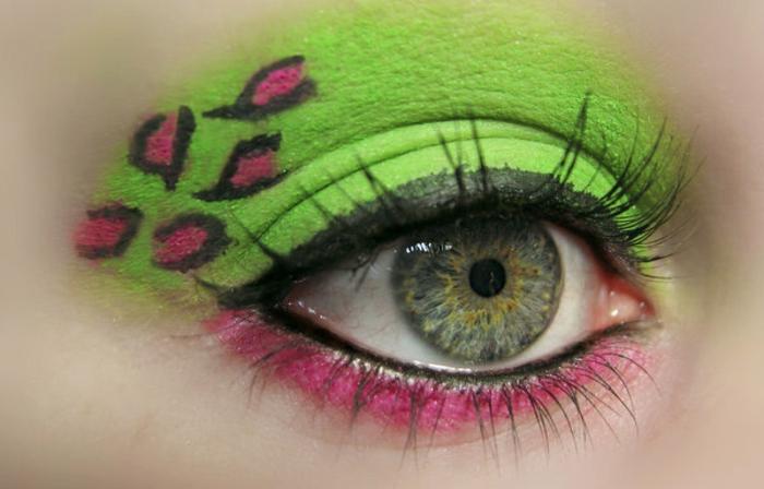 leopard-gesicht-schminken-grün-grell