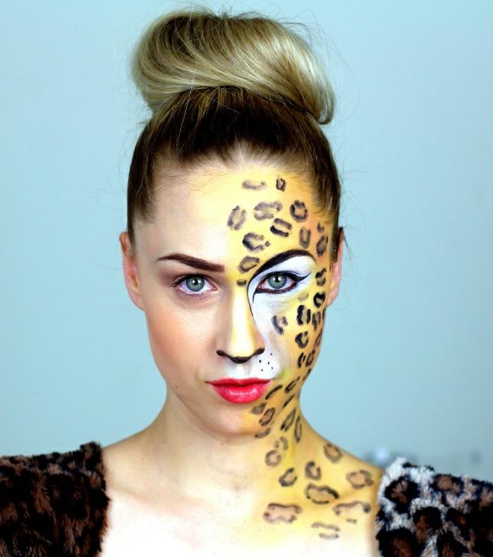 leopard-gesicht-schminken-hochgesteckte-haare-schöne-dame