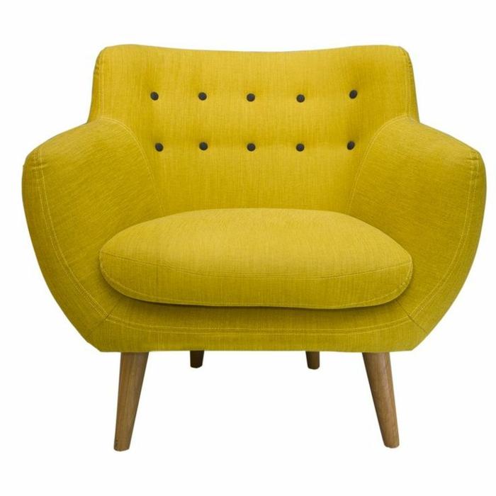 lounge-sessel-interessantes-Design-Senf-Farbe-Knöpfe-bequem