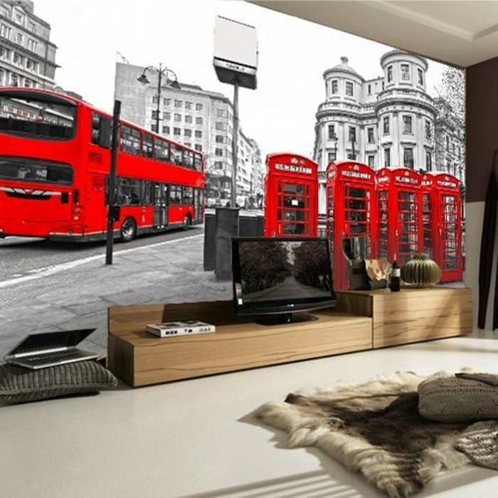 luxuriöses-Interieur-retro-tapete-schwarz-weiß-rote-Akzente