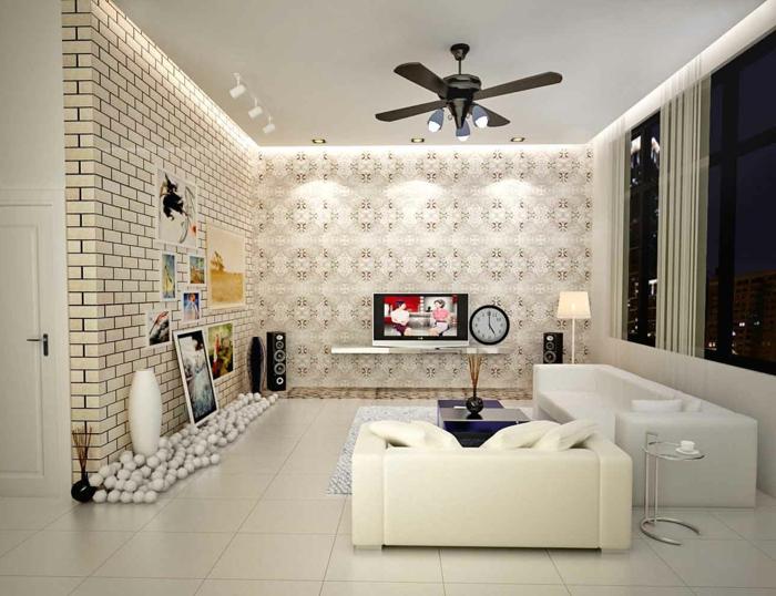 luxuriöses-Wohnzimmer-vintage-Tapete-Ziegelwand-Imitation-schöne-Dekoration