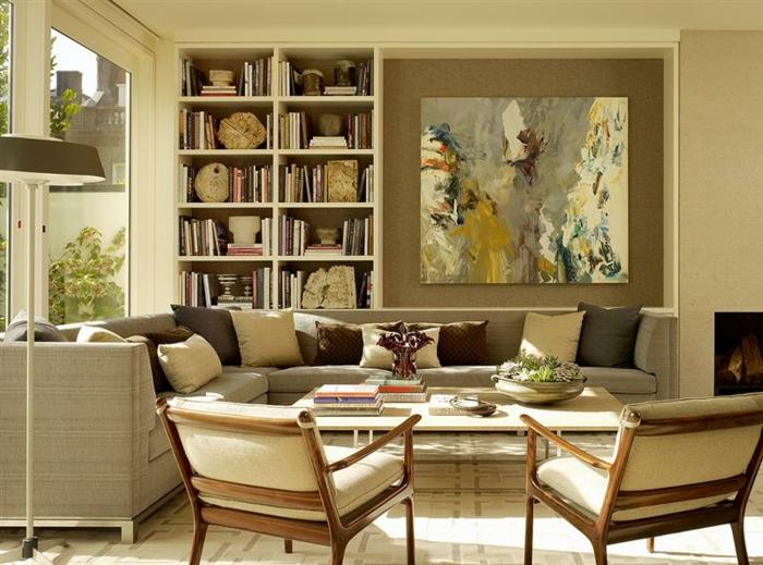 malerische-leinwandbilder-aristokratisches-Interieur-Bücherregale