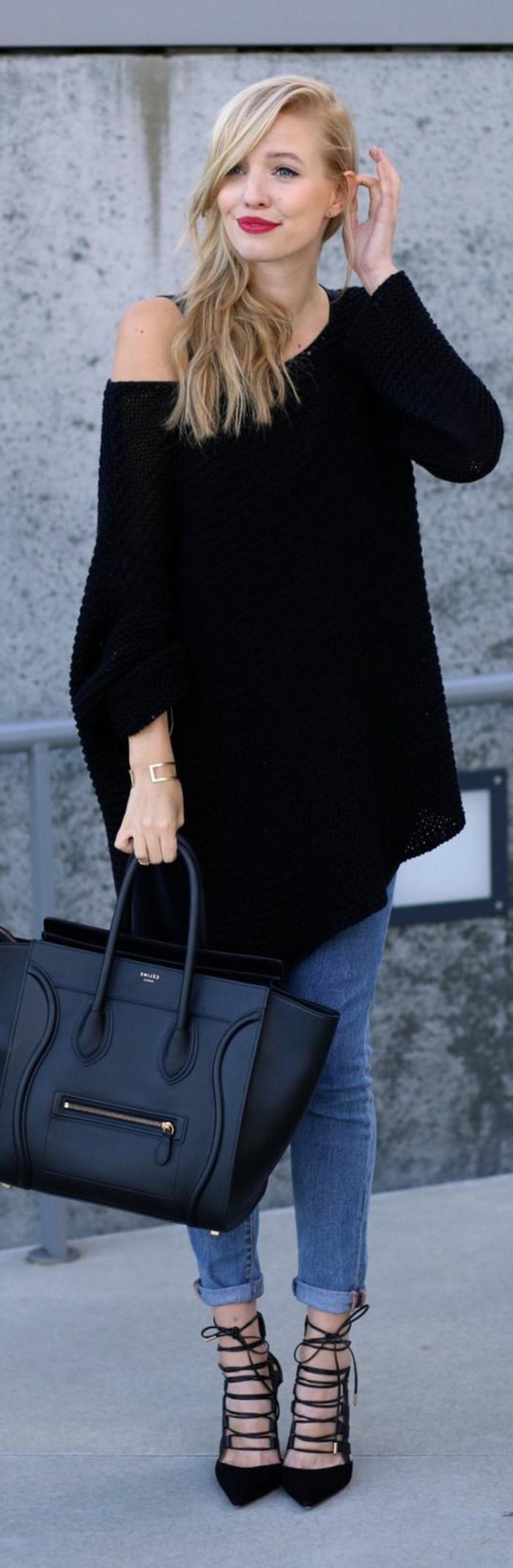 maxi-Pullover-Jeans-stilvolle-Tasche-Gladiator-Schuhe