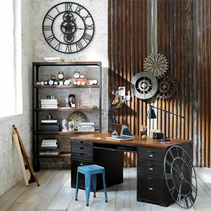 minimalistische-Einrichtung-Arbeitszimmer-vintage-Dekoration-retro-Wanduhren