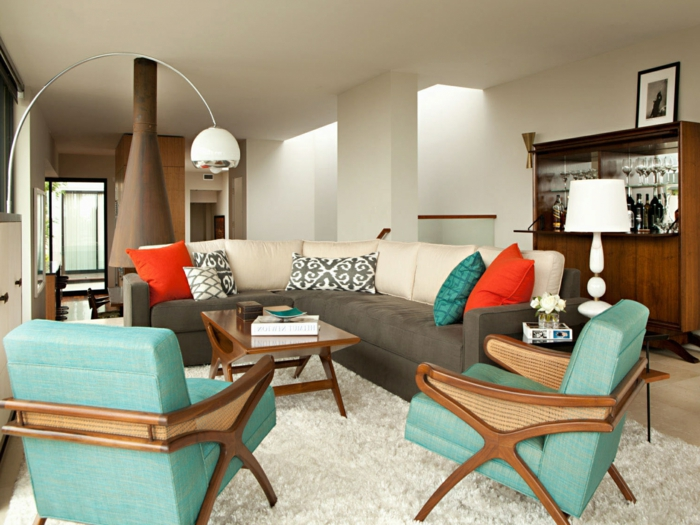 moderne-Wohnung-bunte-Möbel-Kamin-leseleuchte-kreatives-Design