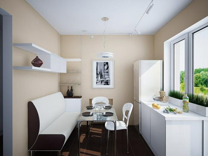sch ne eckbank in weiss kleine sitzecke in der k che. Black Bedroom Furniture Sets. Home Design Ideas