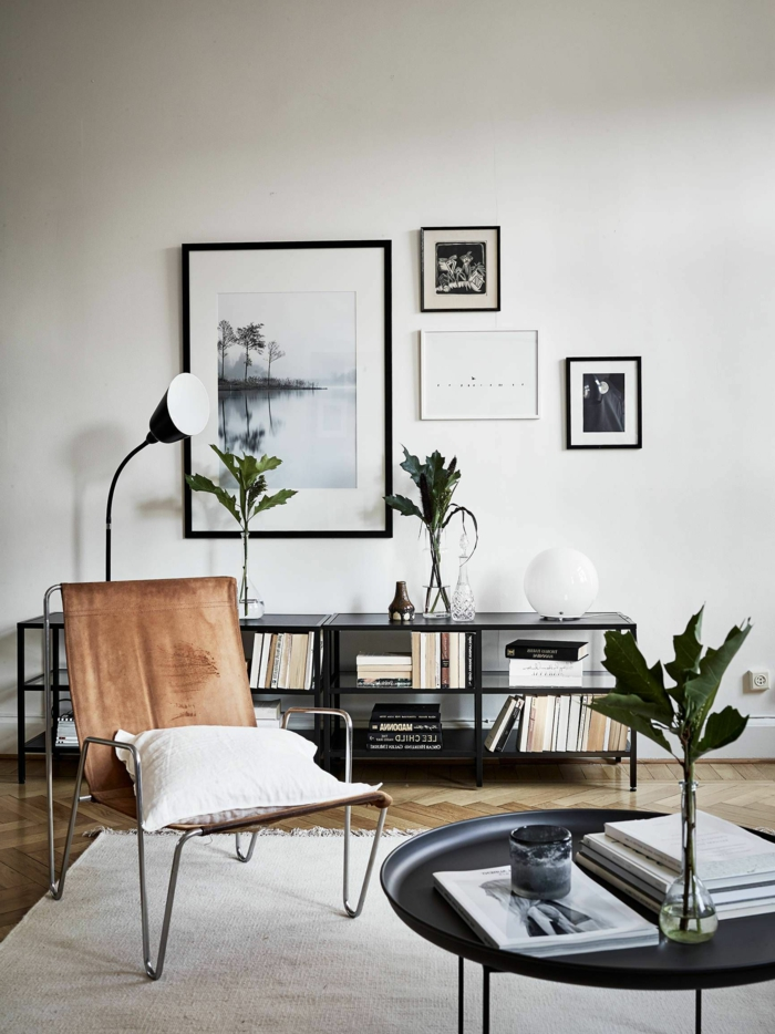 Schwarz Weiße Fotografien und Bilder, Gerahmte Bilder für Wohnzimmer, Skandinavischer Design, runder Tisch