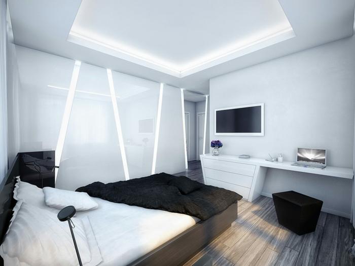 moderne-wandfarbgestaltung-schwarz-weiß-schlafzimmer-zimmerfarbe