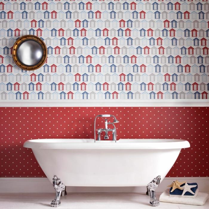 modernes-Badezimmer-Badewanne-wunderschönes-vintage-Modell-Tapeten