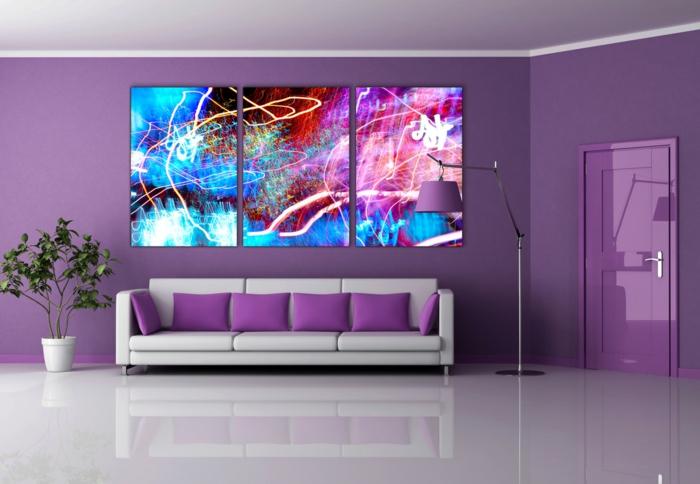 wohnzimmer farbgestaltung lila: mit farben einrichten, Moderne deko