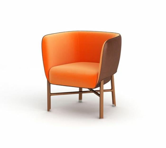 orange-ledersessel-grelle-Nuance-bequemes-Modell-kreatives-Design