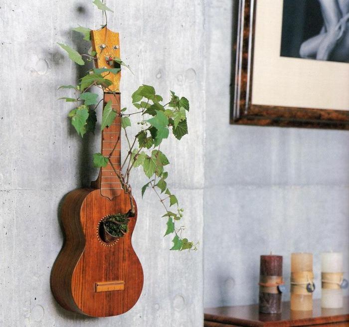 Die akustik gitarre als teil des interieurs - Originelle wandgestaltung ...