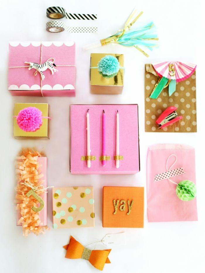 originelle-vielfältige-geschenke-verpacken-ideen-rosa-goldene-Akzente